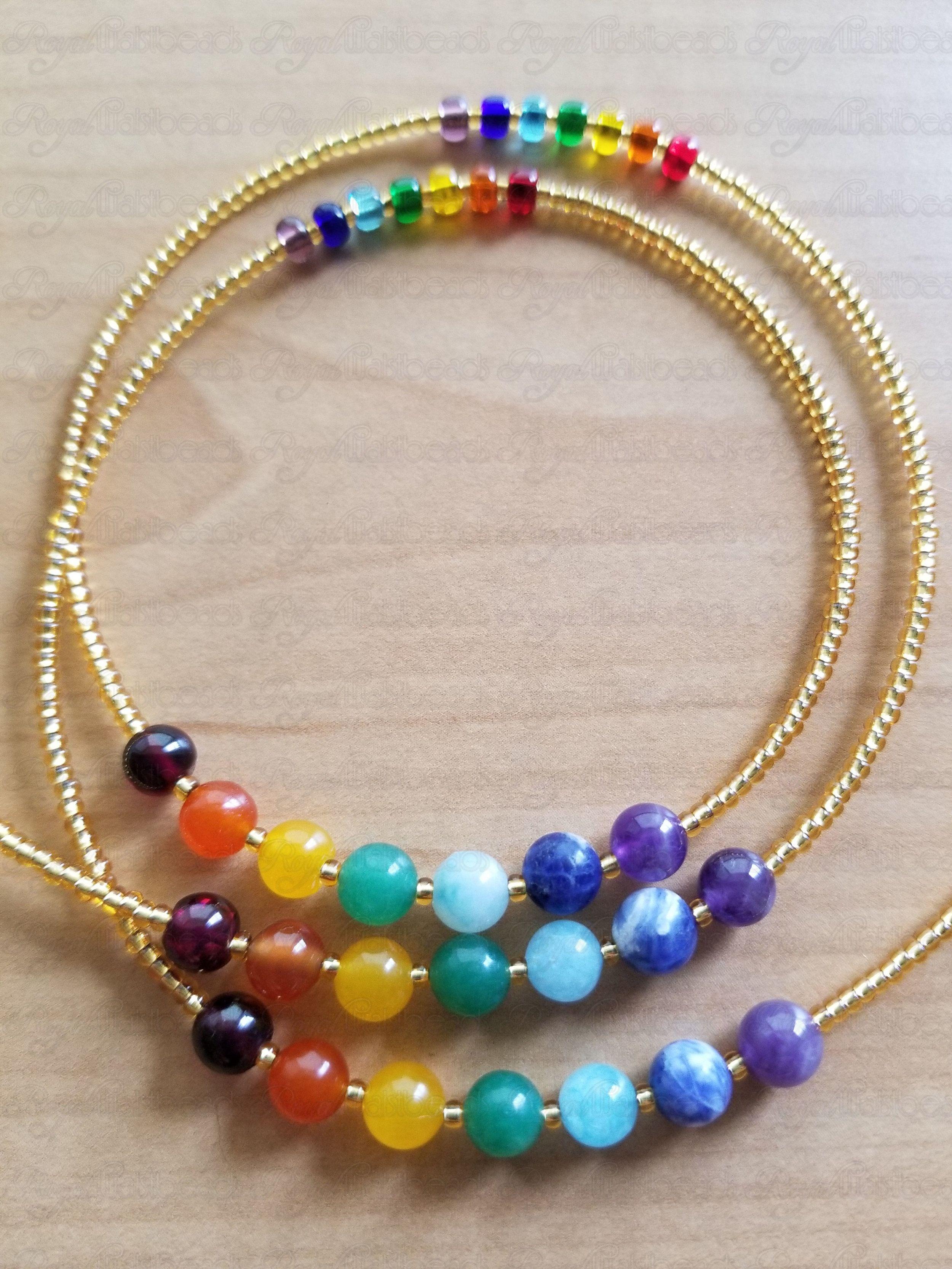 Crystal Waist Beads Third Eye Chakra 18k Gold Chain Handmade to Order Nala Light Purple