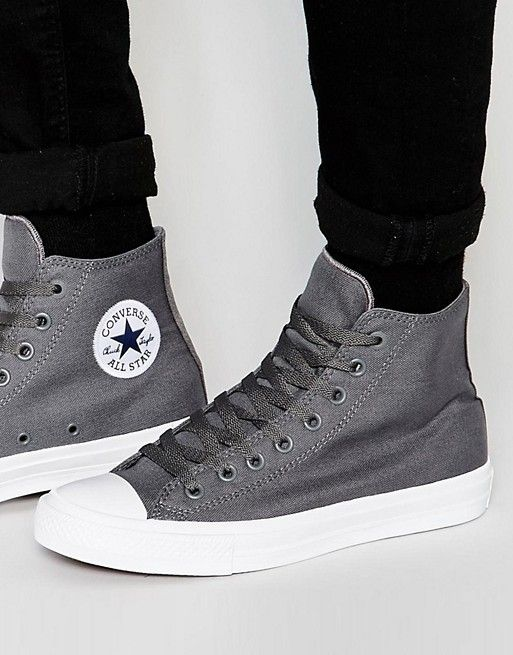 0f0355edc66f Converse Chuck Taylor All Star II Hi-Top Plimsolls In Grey 150147C ...
