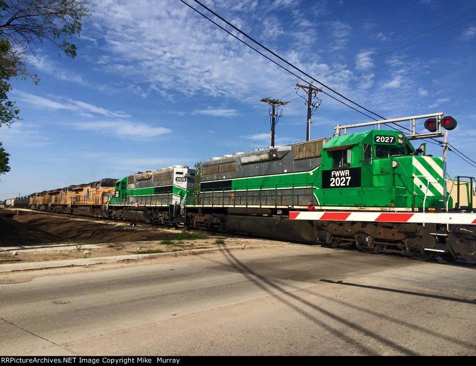 FWWR 2027   Description:    Photo Date:  4/3/2015  Location:  Fort Worth, TX   Author:  Richard Whitenight  Categories:    Locomotives:  FWWR 2027(SD40-2)