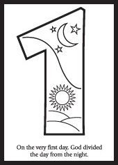 Creation coloring pages. Sunbeams lessons on the Creation