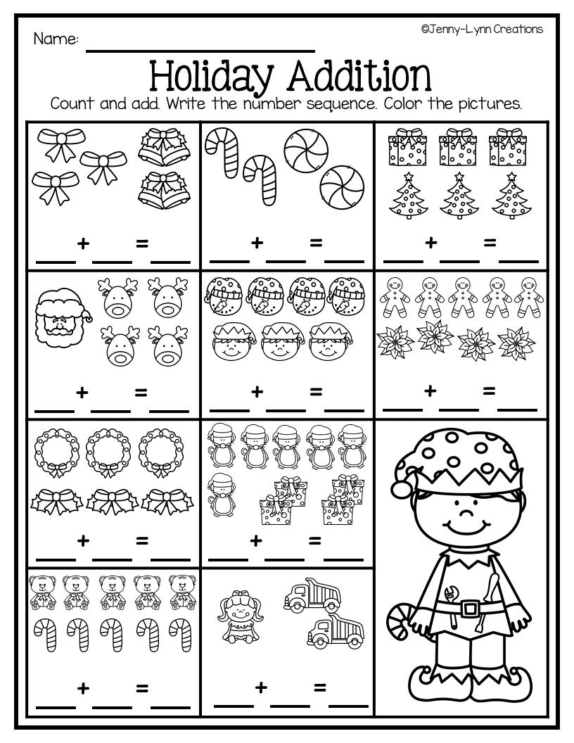 December Pre K Math Literacy Math Literacy December Math Kids Math Worksheets [ 1056 x 816 Pixel ]