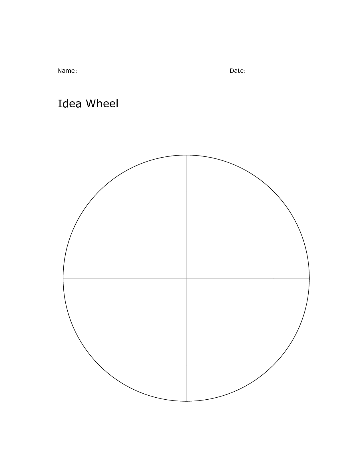 Wellness Wheel Worksheet Printable Template