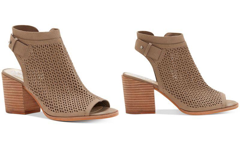 3eb06da8868 Vince Camuto Lidie Perforated Peep-Toe Sandals - Block Heel Sandals ...