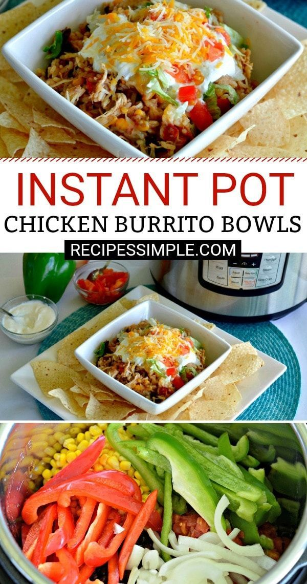 Easy Instant Pot Chicken Burrito Bowls for a quick dinner that everyone will love. #instantpotrecipes #chickenburritobowls
