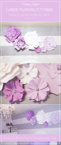 Diy large paper flowers headboard decor large paper flowers and diy large paper flowers mightylinksfo