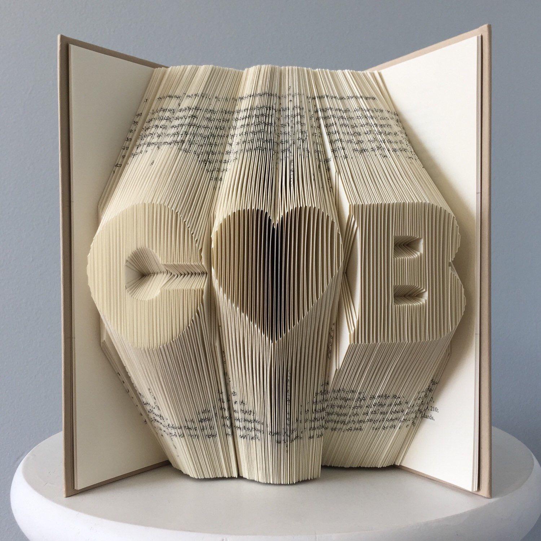 Custom anniversary gift for him custom folded book art