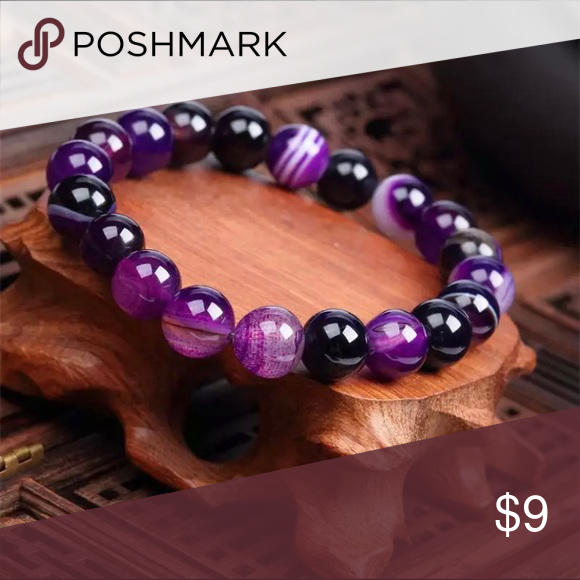 Purple Lava Glass Stone Beaded Bracelet