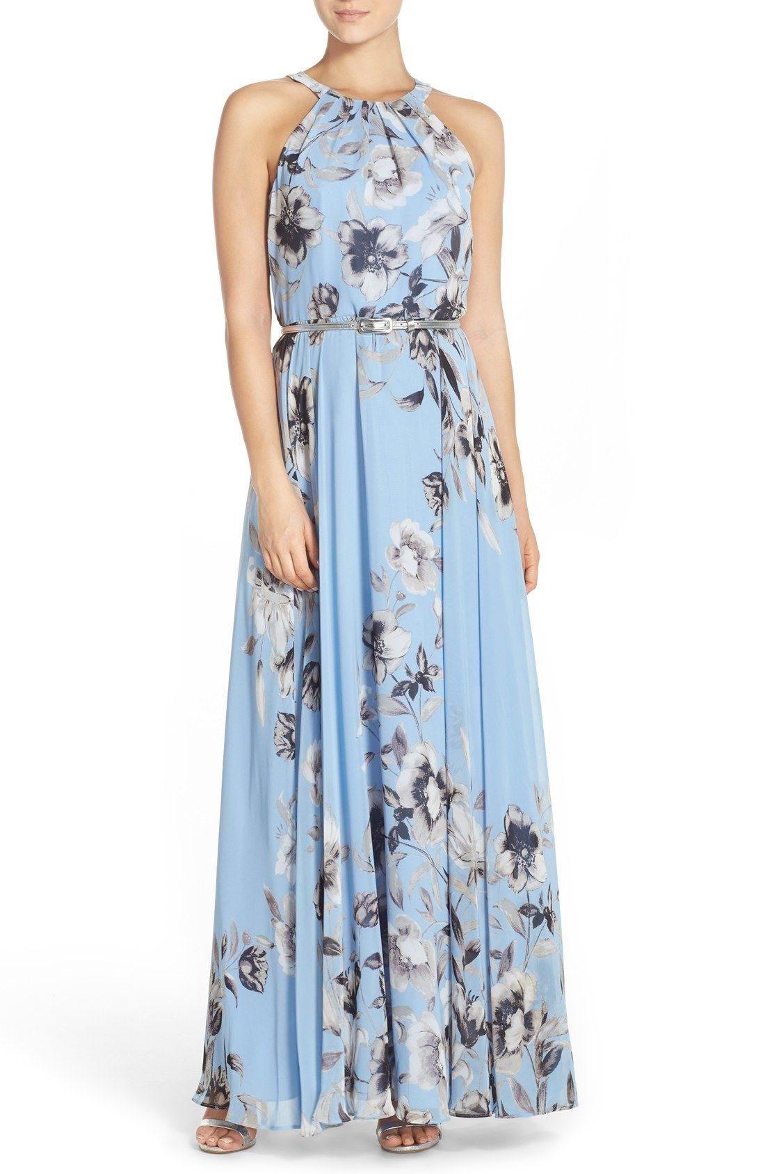 Eliza j belted chiffon maxi dress regular u petite things to