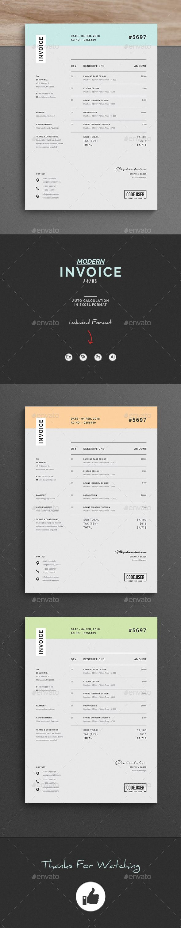 Invoice   Template  Modern graphic design and Graphic design inspiration Invoice by upra Invoice Excel Template  Use this Invoice for personal   corporate or company