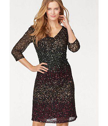 GUIDO MARIA KRETSCHMER Abendkleid – schwarz-mehrfarbig-goldfarben ...