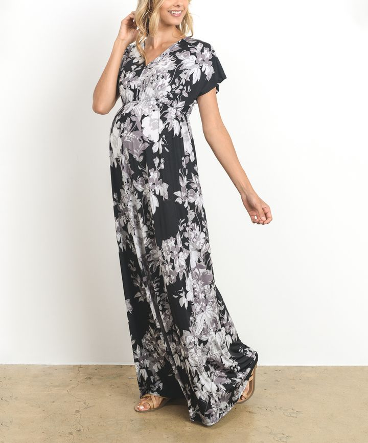 66c1e8cac57 Hello Miz Black Floral V-Neck Maternity Maxi Dress
