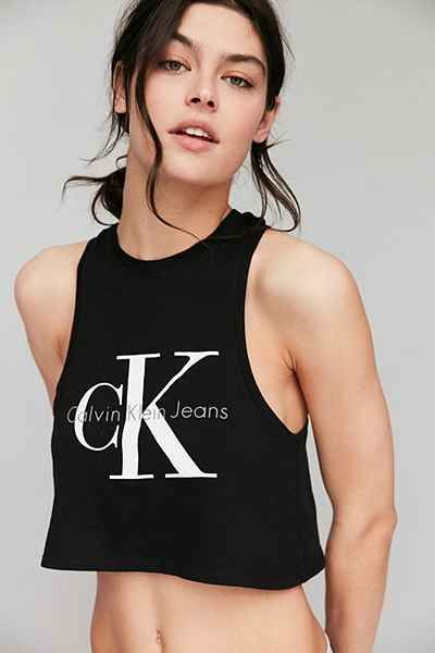 74b998f1 Calvin Klein Cropped Tank Top | My style | Black crop top tank, Tank ...