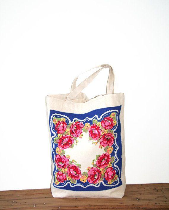 recycled vintage hankie tote bag | Bags | Pinterest