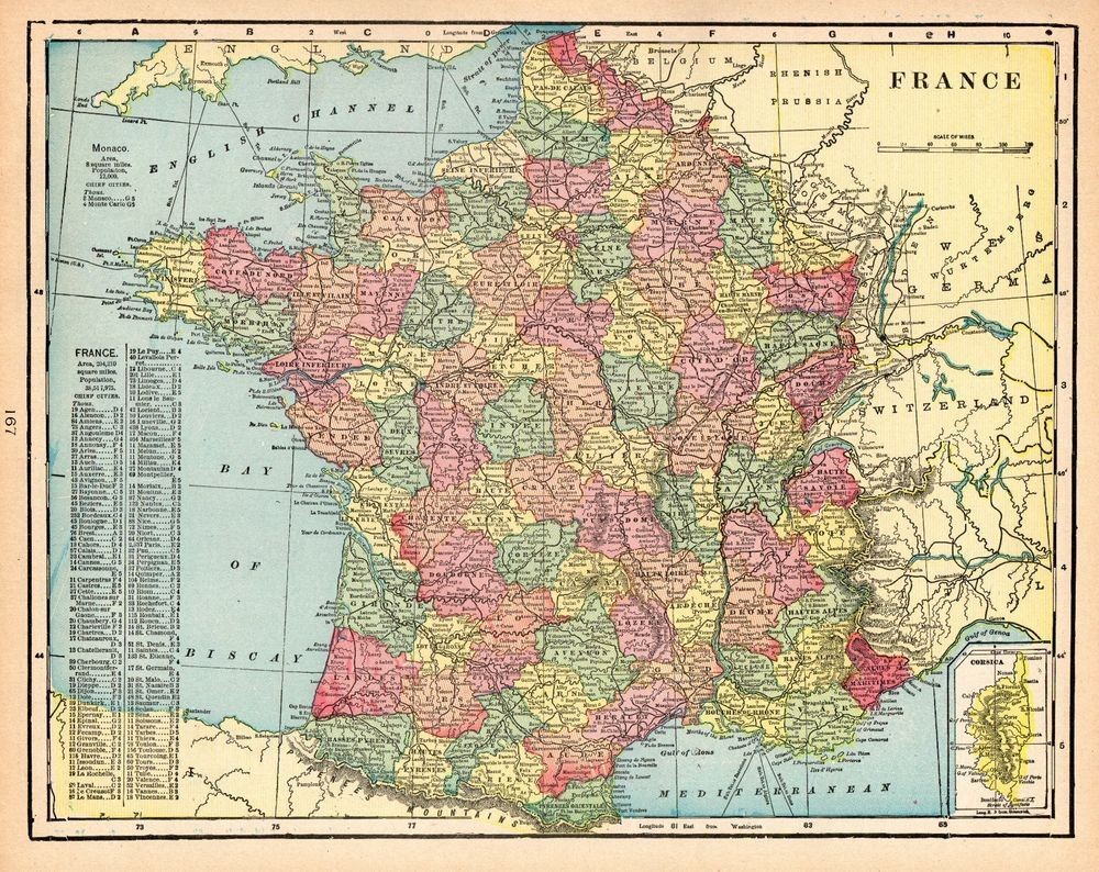 1906 Antique France Map Vintage Map Of France Gallery Wall Art