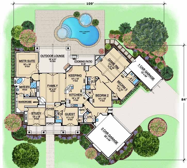 Luxury Style House Plans 3584 Square Foot Home 1 Story 4 Bedroom And 4 Bath 3 Garage Rustic House Plans Ranch Style House Plans Empty Nester House Plans