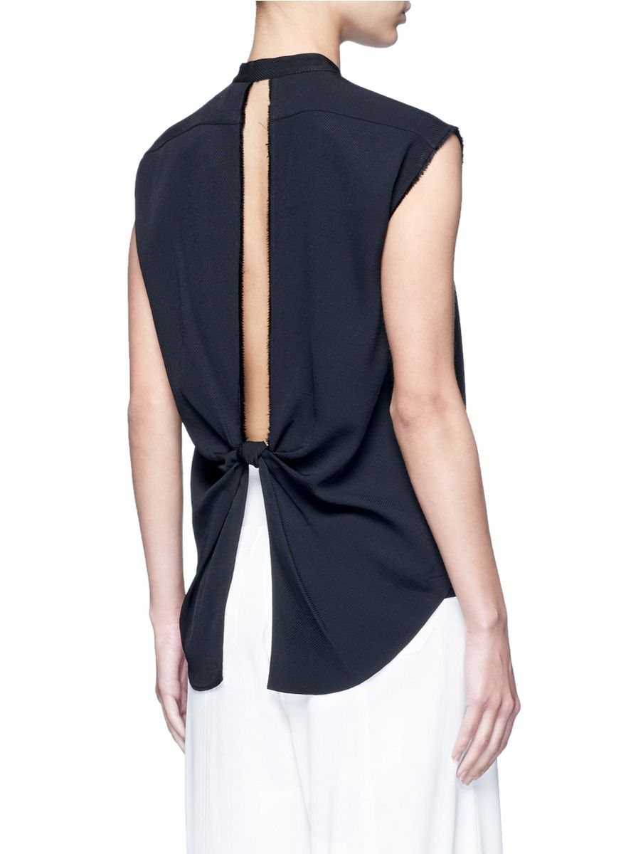 Helmut Lang Split Back Knot Jacquard Twill Shirt Black Sleeveless Tops Women Lane Crawford Shop Designer Brands Online Helmut Lang Tops Twill Shirt