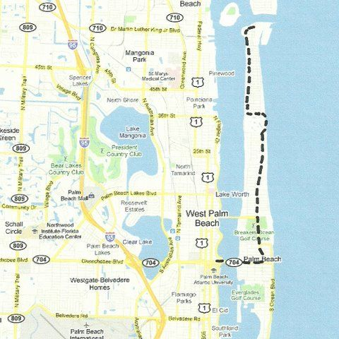 Map Of Lake Worth Florida.Florida Backroads Travel Map Of Route From Downtown Palm Beach Up To