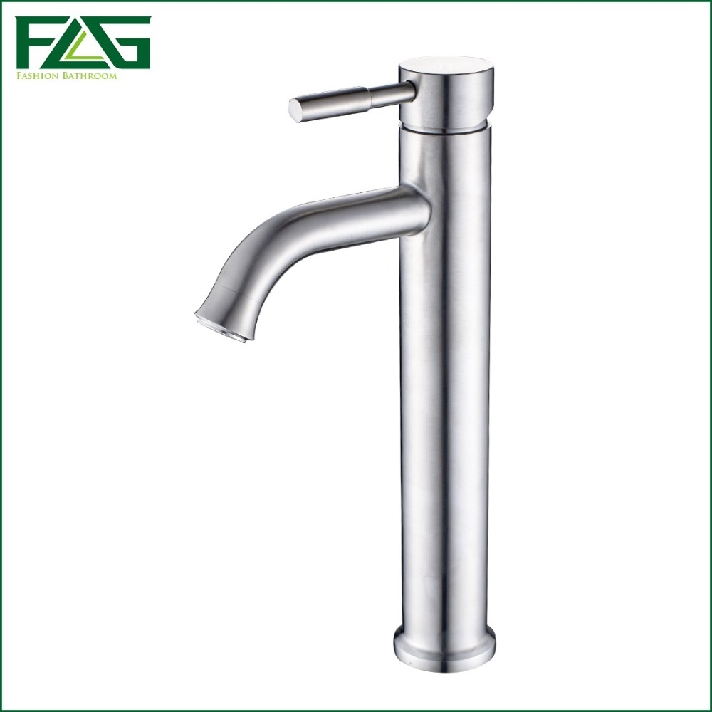 59.50$  Watch here  - FLG New Arrival Basin Faucet Deck Mounted Platform Heightening 304 Stainless Steel Wasserhahn Single Lever Grifo Negro SS003Y