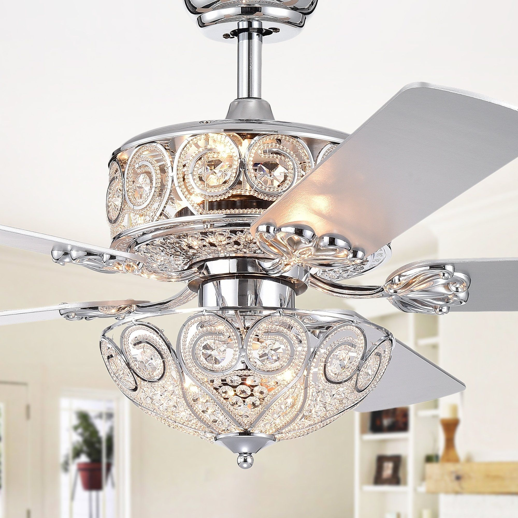 Catalina Chrome Finish 5 Blade 52 Inch Crystal Ceiling Fan