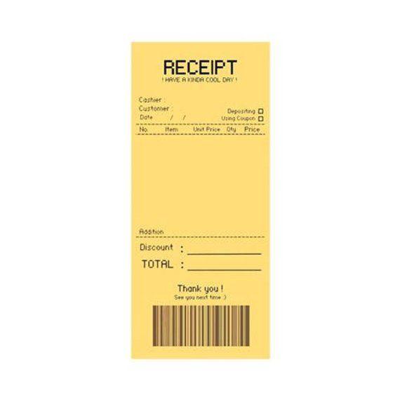 Receipt Notepad Pink Yellow Blue Notepads Personalized Etsy Kartu Desain Grafis Buku
