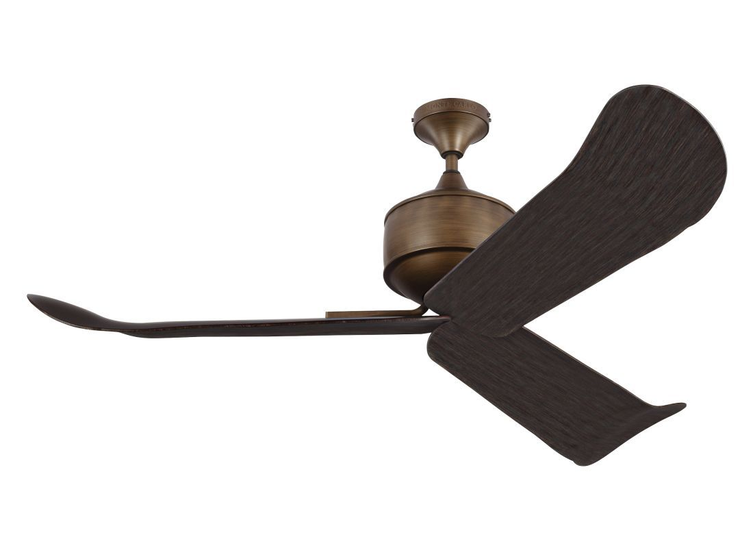 """Monte Carlo Dylan 3 Blade 56"""" Outdoor Ceiling Fan - Remote Included Aged Brass Fans Ceiling Fans Outdoor Ceiling Fans"""