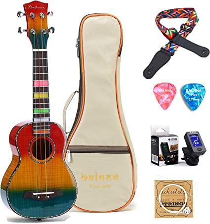 Amazon Com Balnna Concert Ukulele 23 Inch High Gloss Rainbow Ukulele With Aquila Color Strings Awesome Accessories Maple Wooden Uk Ukulele Guitar Concert