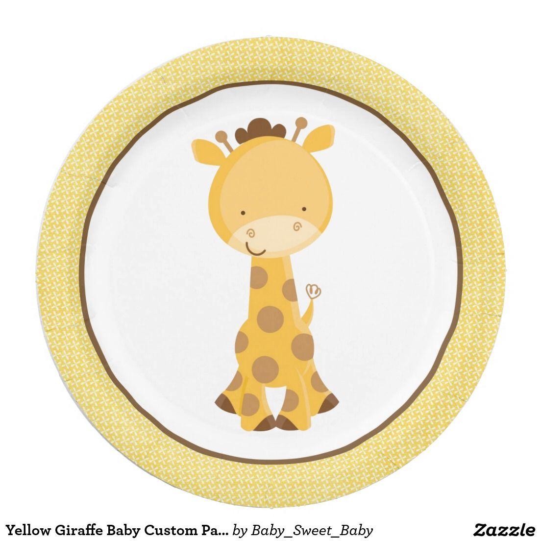 """Yellow Giraffe Baby Custom Paper Plates 9"""""""