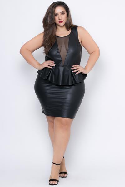 Plus Size Faux Leather Peplum Dress Black Neckline Stretches