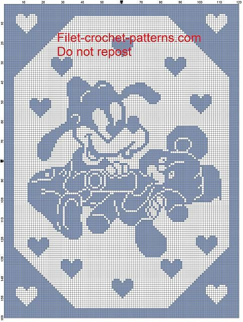 Goofy baby with teddy bear and baby bottle filet crochet pattern baby blanket