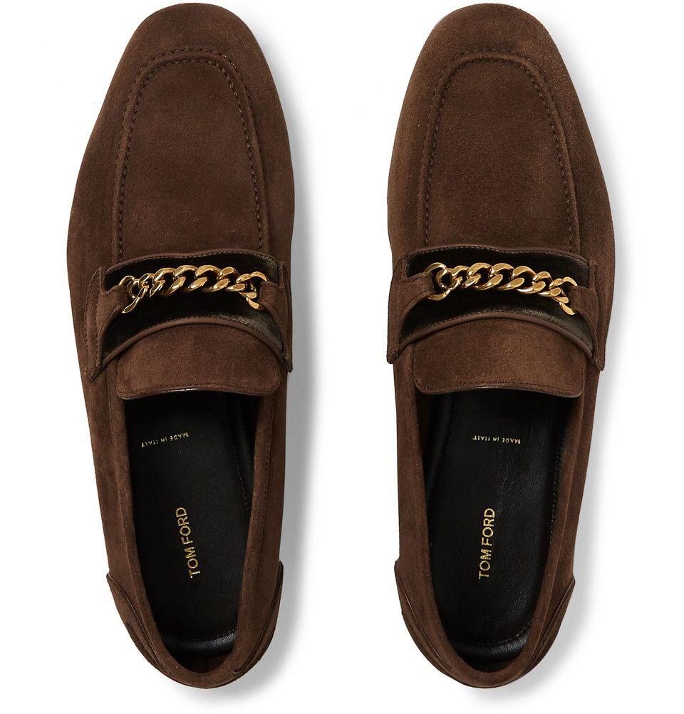 9d3924735d240 TOM FORD - Wilton Chain-Embellished Velvet-Trimmed Suede Loafers ...