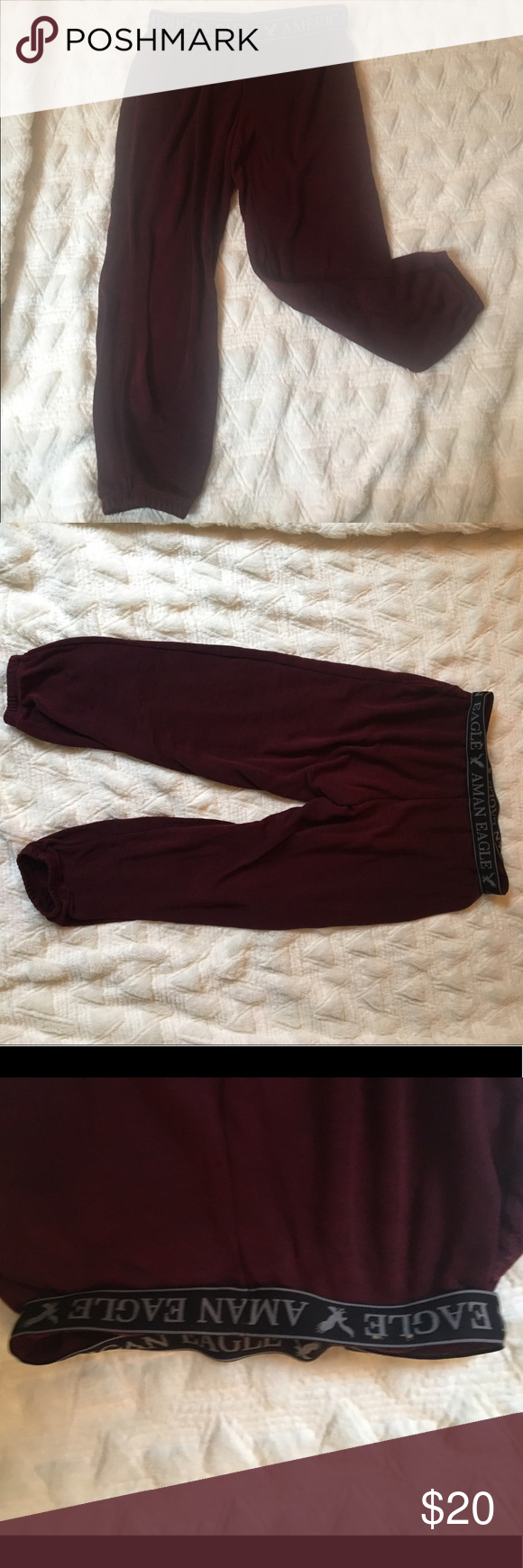 """American Eagle cropped sweat pants Maroon American Eagle cropped sweat pants with elastic band, inseam 24"""" in great condition on worn a few times! American Eagle Outfitters Pants Track Pants & Joggers"""