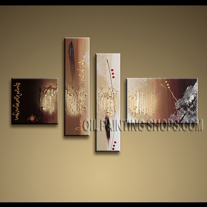Huge Contemporary Wall Art Oil Painting On Canvas Panels Gallery Stretched Abstract. This 4 panels canvas wall art is hand painted by Kerr.Donald, instock - $165. To see more, visit OilPaintingShops.com