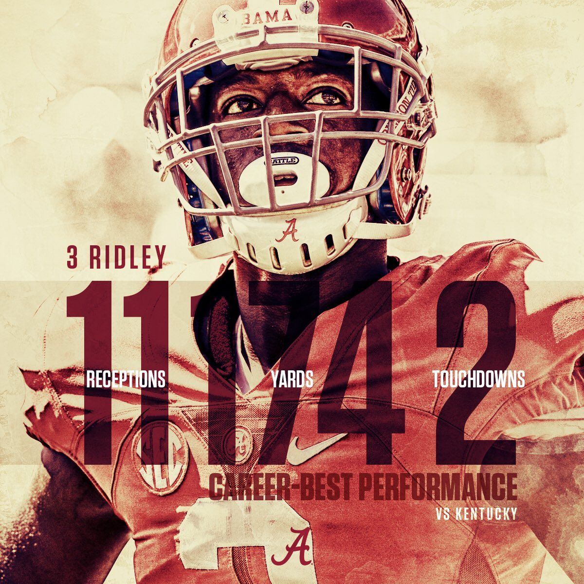 Sophomore Calvin Ridley Had A Career Night In The Win Over Kentucky Finishing With 11 Rec Crimson Tide Football Sports Design Inspiration Sports Graphic Design