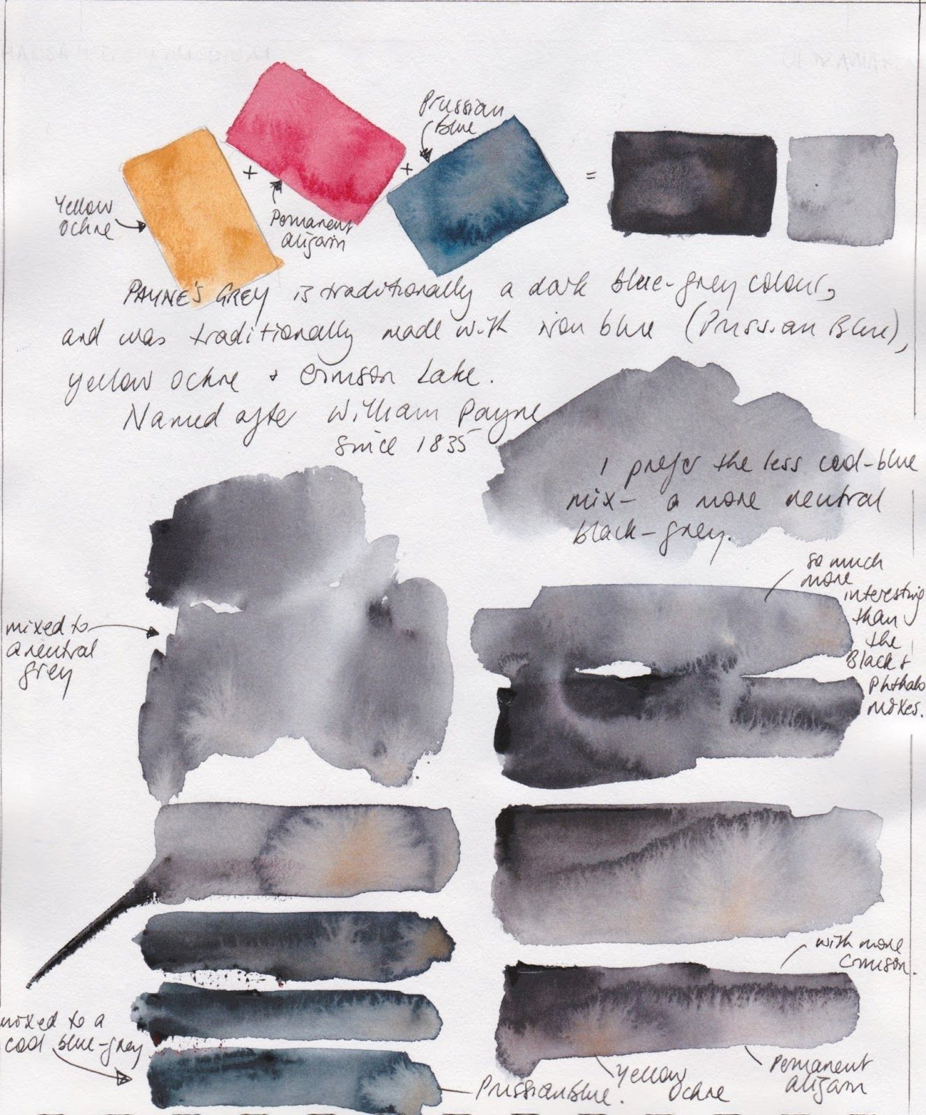 Jane Blundell Custom Watercolour Mixes A Question Of Greys