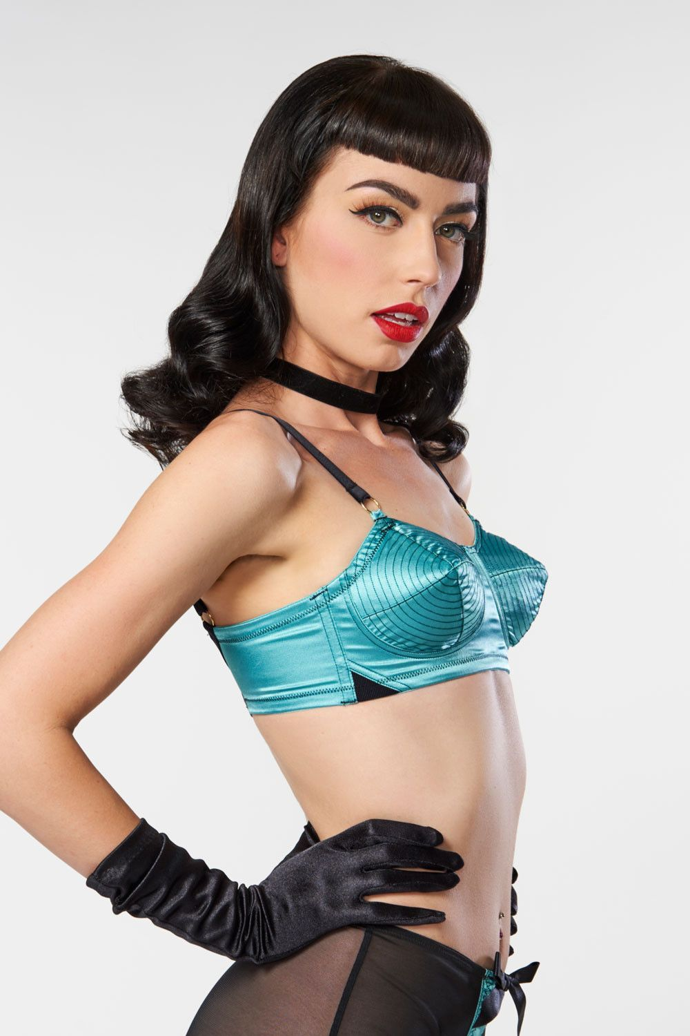 28dfb3093 Spiral Stitch Bullet Bra in Teal and Black