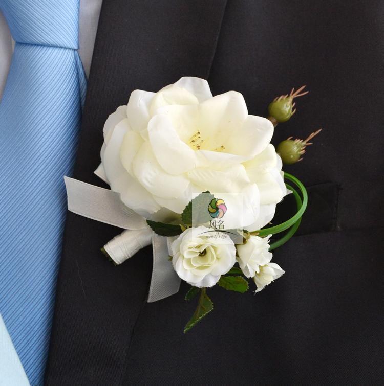 White Garden Rose Boutonniere wedding boutonnieres white pink rose groom groomsman pin brooch