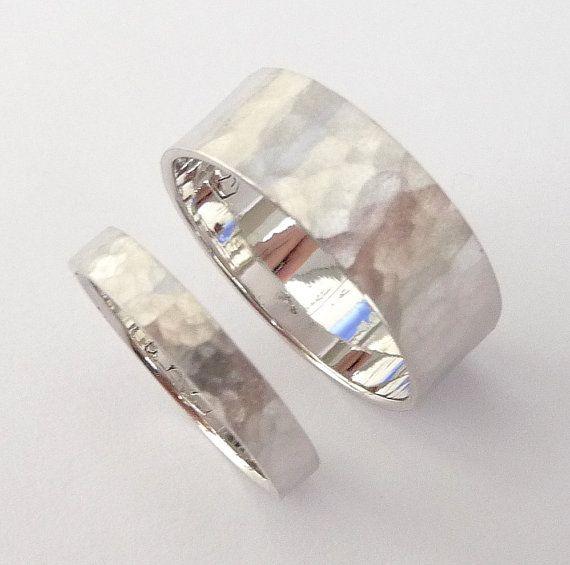 Wedding Rings Set White Gold Wedding Bands Men And Women Flat