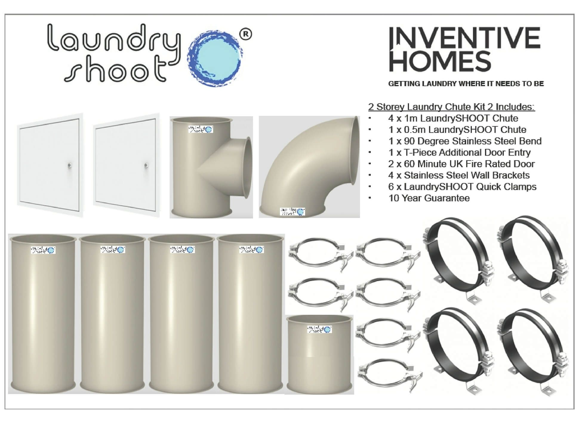 Laundry Shoot Chute 2 Y House Kit Inc Entry Points