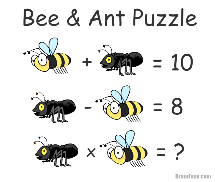 math worksheet : brain teaser  number and math puzzle  bee and ant  bee and ant  : Math Riddles For Kids