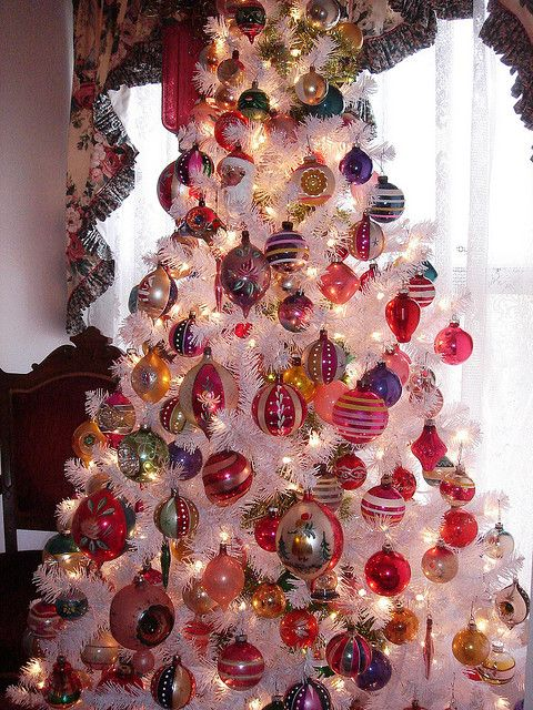 Victorian Christmas tree with vintage balls