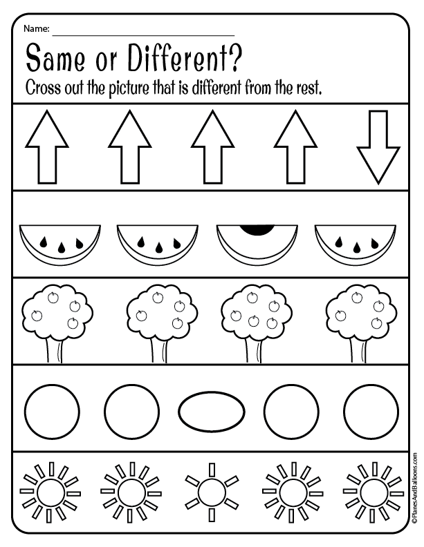 same and different worksheets | Number activities | Pre k ...