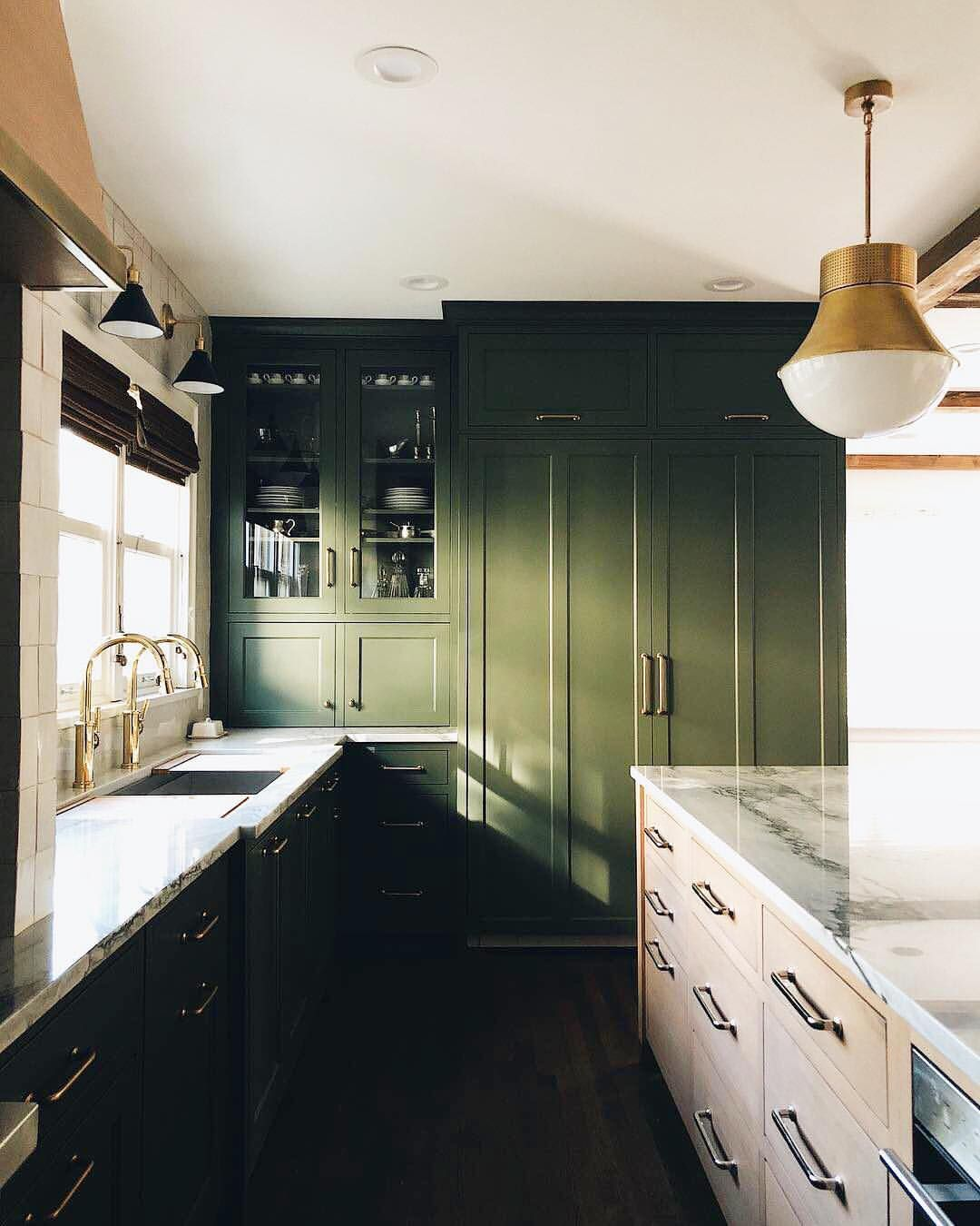 """MyDomaine on Instagram: """"Olive green cabinets > Monday ..."""