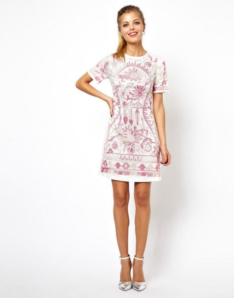 808341bd Shift Dress with Cornelli Trim - Lyst | Belle | Dresses, Clothes ...