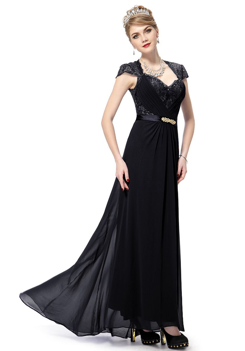 V-Neck Floor Length Black Chiffon Sheath/Column Evening Dress