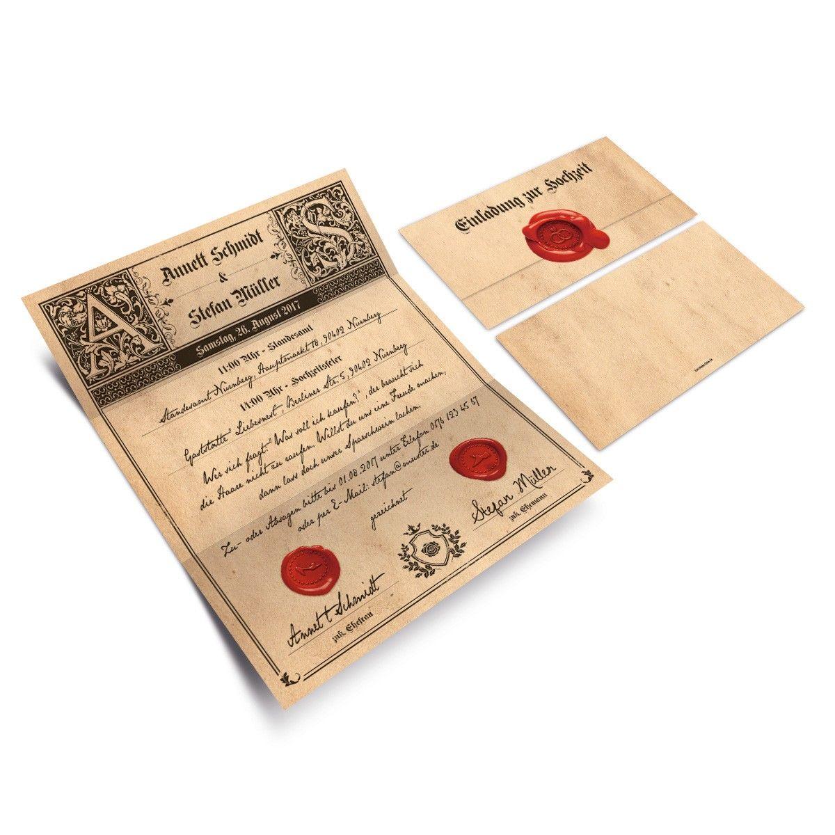 Hochzeitseinladungen Siegelbrief hochzeit einladung