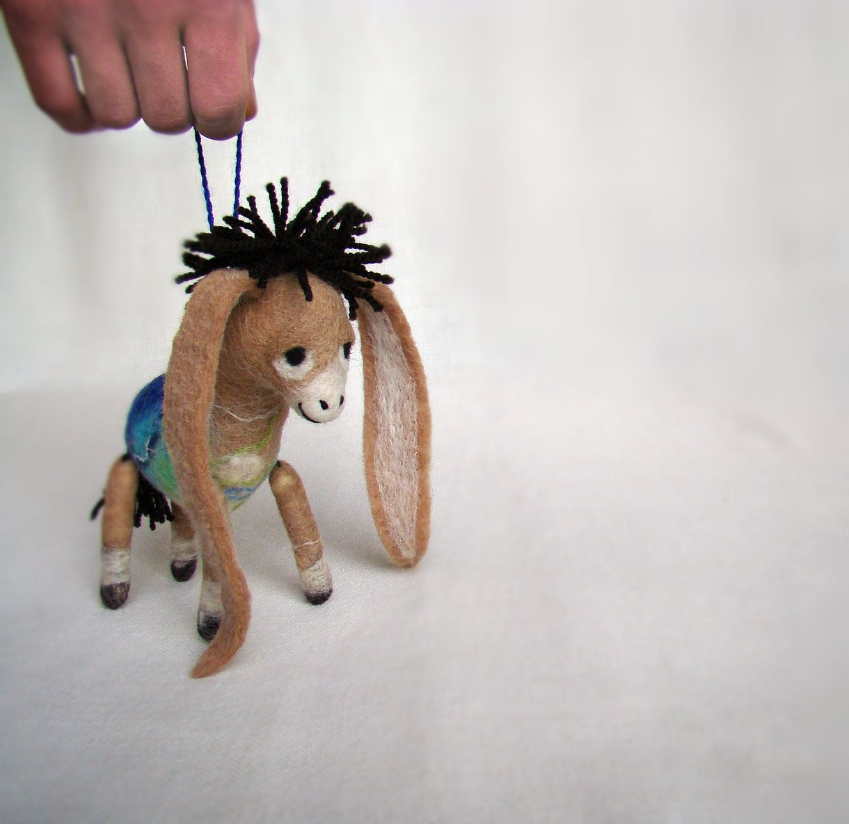 Donkey ornaments - Nestor The Small Long Eared Christmas Donkey Art Toy Felted Christmas Ornament
