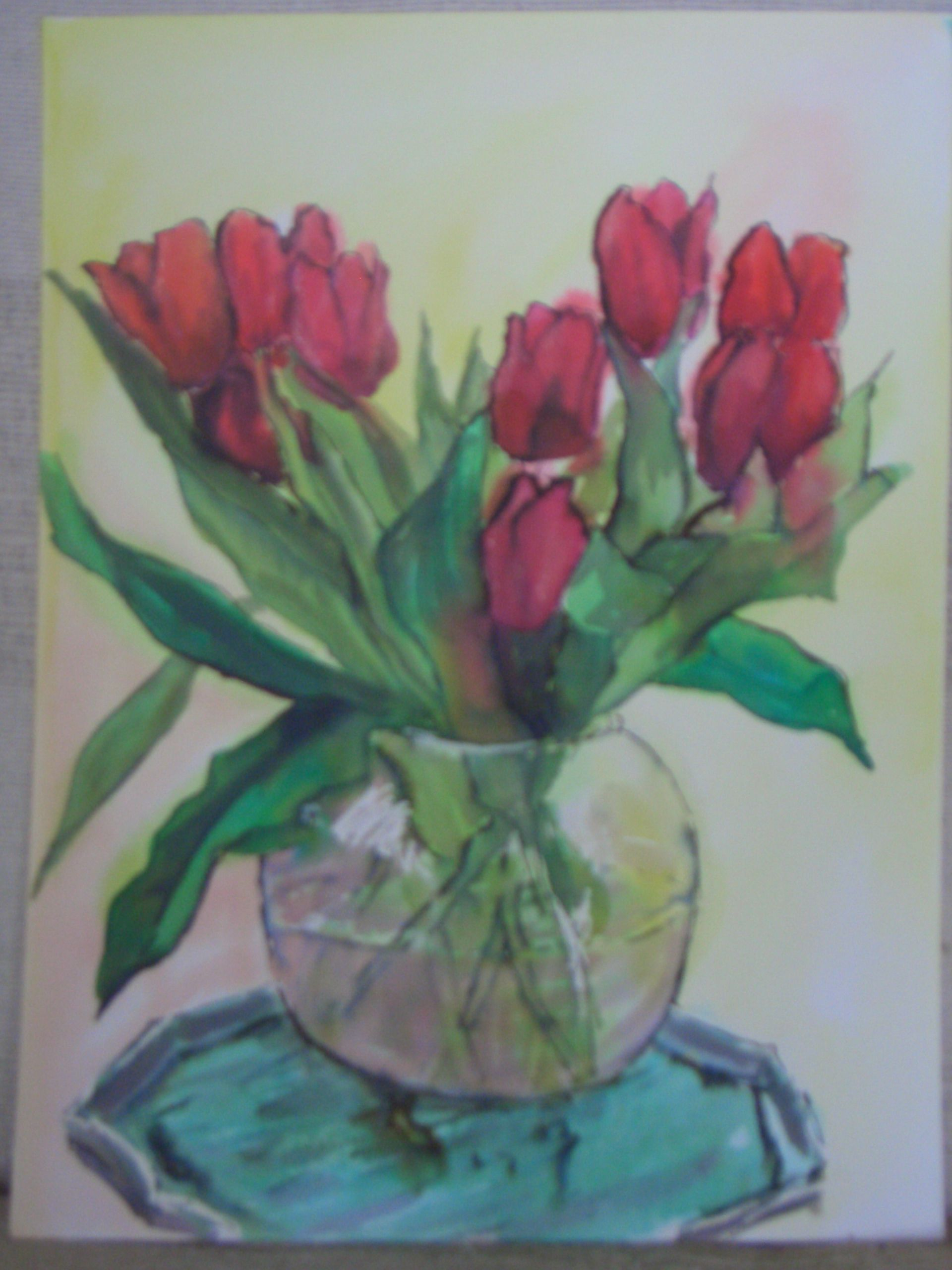 Red tulips.   Water soluable inks on heavy watercolour paper