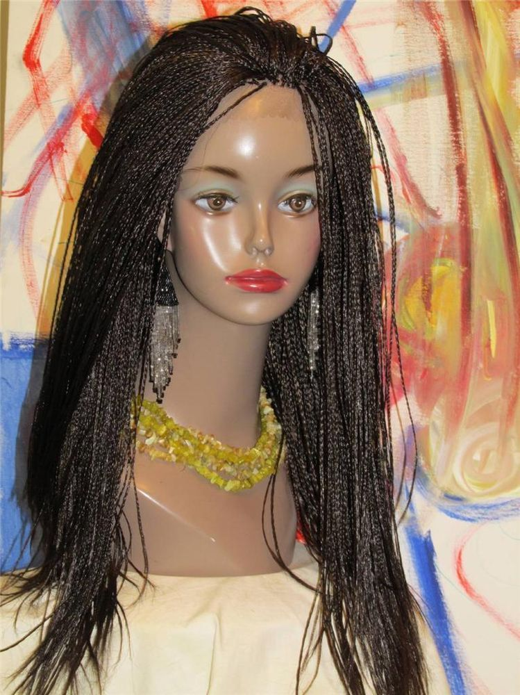 Fully Braided Lace Front Wig Thin Micro Braids Color 2