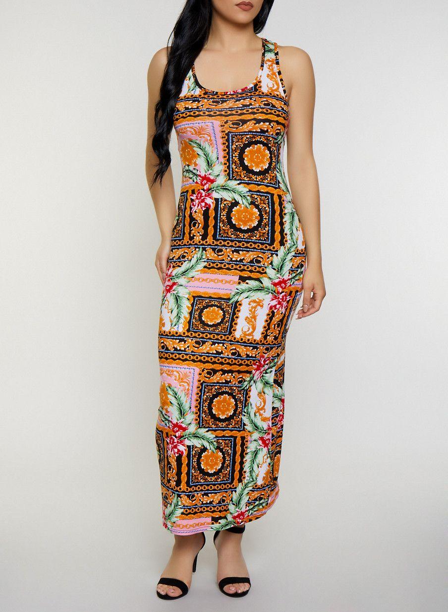 Mixed Print Tank Maxi Dress Multi Size S Maxi Tank Dress Maxi Dress Dresses [ 1234 x 904 Pixel ]