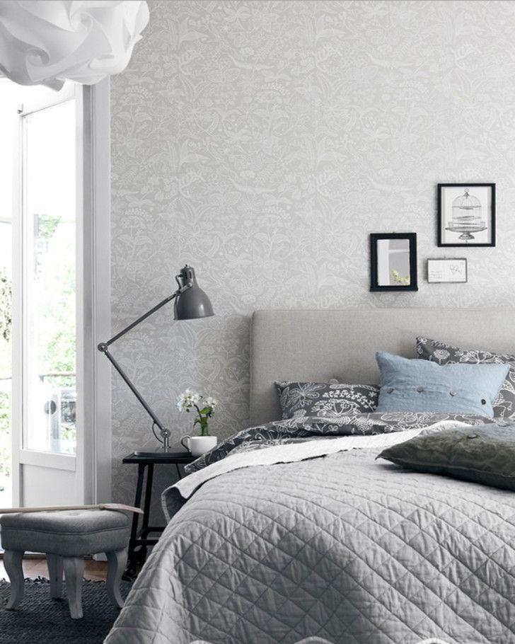 scandinavian bedroom design grey Bedrooms. Amazing Floral Wall Decal Scandinavian Bedroom Design with Grey Upholstry Headboard